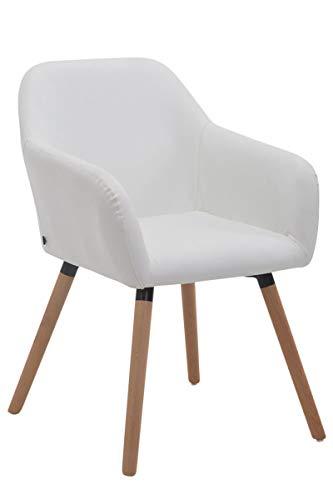 CLP Esszimmerstuhl ACHAT V2 mit Kunstlederbezug, Polsterstuhl mit Armlehne, Sitzfläche gepolstert, mit Bodenschonern, max. Belastbarkeit 150 kg, Farbe:weiß, Gestell Farbe:Natura