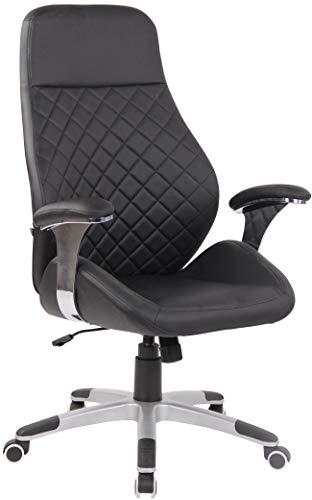 CLP Bürostuhl Layton Mit Leichtlaufrollen | Chefsessel Mit Lehne | Höhenverstellbarer Ergonomischer Bürosessel, Farbe:schwarz, Material:Kunstleder