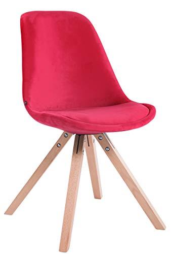 CLP Retrostuhl Toulouse Samt Square Mit Hochwertigem Sitzpolster I Lehnstuhl Mit Stabilem Holzgestell I Sitzhöhe 48 cm, Farbe:rot, Gestell Farbe:Natura (Eiche)