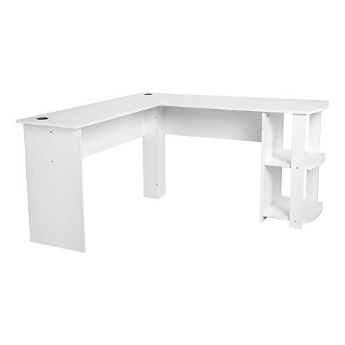 Estink L-Form Eckschreibtisch, Computertisch Gaming Tisch L-Form Winkelschreibtisch großer Gaming Schreibtisch Bürotisch, Weiß