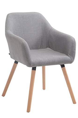CLP Esszimmerstuhl ACHAT V2 mit Stoffbezug, Polsterstuhl mit Armlehne, Sitzfläche gepolstert, mit Bodenschonern, max. Belastbarkeit 150 kg, Farbe:grau, Gestell Farbe:Natura