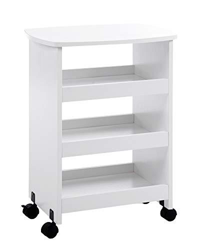 ts-ideen Beistelltisch auf Rollen Ablage Rollcontainer Bücherbord Holz Weiß 60 x 49 cm