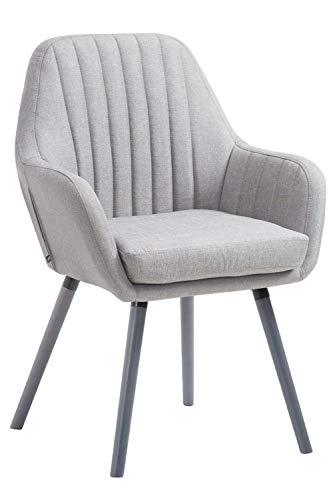 CLP Retrostuhl Florian mit hochwertiger Polsterung und Stoffbezug I Esszimmerstuhl mit Einer Sitzhöhe von 53 cm, Farbe:grau, Gestell Farbe:Grau