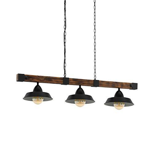 EGLO Pendellampe Oldbury, 3 flammige Vintage Pendelleuchte im Industrial Design, Hängelampe aus Stahl und Holz, Farbe: schwarz, braun rustikal, Fassung: E27, L: 118 cm