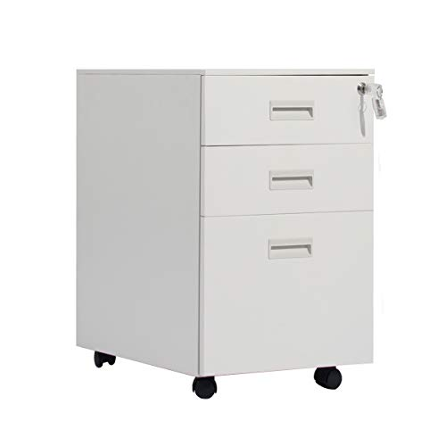 soges Rollcontainer Bürocontainer abschließbar, Mobilen Büroschrank Aktenschrank mit 3 Schubladen, Perfekt Schreibtisch Container, Hängeregistratur - unten Schreibtisch für Zuhause, HCCBN002-WT