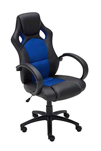 CLP Gaming Bürostuhl Fire Kunstleder I Höhenverstellbarer Drehstuhl Mit Kopfstütze Und Armlehnen   Pflegeleichter Schreibtischstuhl, Farbe:blau