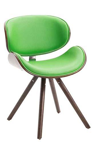 CLP Esszimmerstuhl Ortega mit Holzsitzschale, Holzstuhl mit Kunstlederbezug, Polsterstuhl mit Buchenholzgestell, Loft Stuhl, Coffee/grün