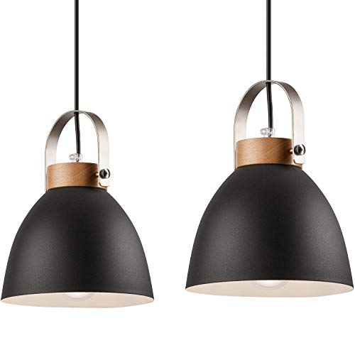 JVS Pendel-Leuchte Decken-Leuchte aus Metall E27 Hänge-Leuchte Vintage Industrieleuchte Wohnzimmerlampe Modern Wohnzimmer mit Kabel Vintagelampe für Wohnzimmer/Küche/Büro/Praxis (Graphite, 2-flammig)