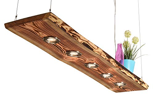 Blockholz-Schmiede Deckenlampe Holz geflammt für die Küche - Wohnzimmer Vintage Hängelampe – Esszimmer Pendelleuchte – Deckenleuchte mit LED Beleuchtung 5W Warmweiß, Größe: 120cm 5 LEDs