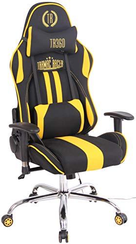 CLP Bürostuhl Limit XM Mit Stoffbezug I Gamingstuhl mit Fußablage I Höhenverstellbar I Computerstuhl Mit Massagefunktion, Farbe:schwarz/gelb