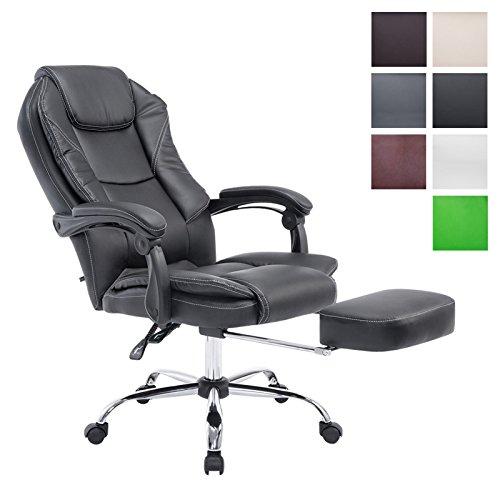 Bürostuhl Castle mit Kunstlederbezug I Ergonomischer Bürosessel mit höhenverstellbarer Sitzhöhe I Drehstuhl mit ausziehbarer Fußablage, Farbe:schwarz