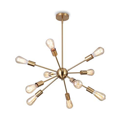 Glighone Sputnik Kronleuchter Modern Deckenleuchte Pendelleuchte Hängelampe mit 10-Flammig E27 Lampenfassung Brass Metall für Esszimmer Zimmer Wohnzimmer Küche Café Restaurant usw
