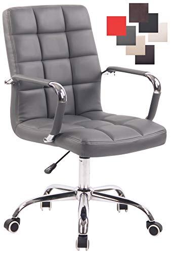 CLP Bürostuhl Deli mit Kunstlederbezug und hochwertiger Polsterung I Drehstuhl mit höhenverstellbarer Sitzhöhe, Farbe:grau
