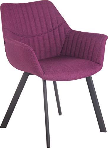 CLP Esszimmerstuhl Lancy Stoff I Küchenstuhl Sitz Gesteppt I Polsterstuhl Mit Metallgestell I Lehnstuhl I Besucherstuhl, Farbe:lila