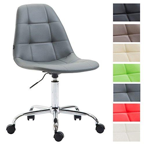 Bürostuhl Reims Mit Kunstlederbezug I Schreibtischstuhl Mit Laufrollen Und Gestepptem Sitz I Höhenverstellbarer Drehstuhl, Farbe:grau