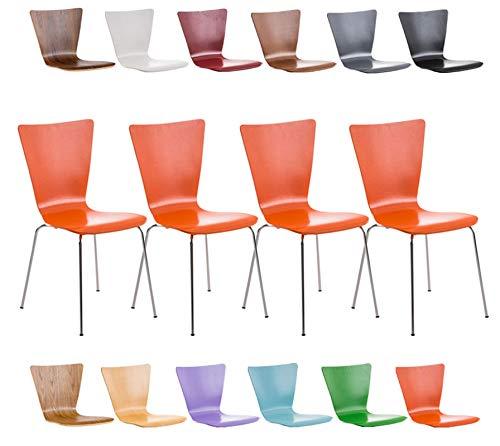 CLP 4er-Set Stapelstuhl Aaron Mit Holzsitz Und Metallgestell I 4 x Stuhl Mit Pflegeleichter Sitzfläche, Farbe:orange
