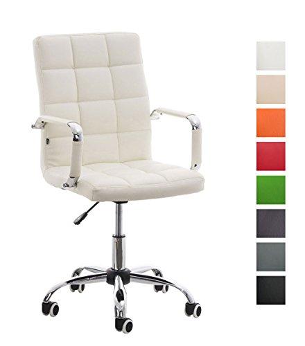 CLP Bürostuhl Deli V2 mit Kunstlederbezug und hochwertiger Polsterung I Drehstuhl mit höhenverstellbarer Sitzhöhe, Farbe:weiß