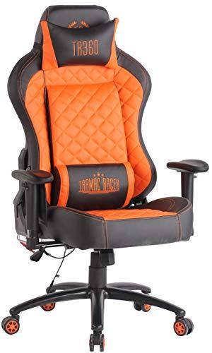 CLP Bürostuhl Rapid XM Mit Kunstlederbezug Und Massagefunktion I Schreibtischstuhl Mit Verstellbaren Armlehnen Und Beheizbarem Sitzbereich, Farbe:schwarz/orange