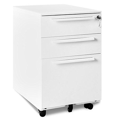 Merax Rollcontainer Abschließbar inkl 3 Schübe, 39 x 52 x 60cm Grundsolide Verarbeitung Schreibtisch Büromöbel Schubladenschrank Metall mit 3 Schubladen für A4 Hängeregistratur(Weiss A)