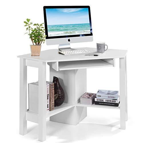 COSTWAY Schreibtisch Computerschreibtisch Computertisch Eckschreibtisch Winkelschreibtisch Bürotisch Corner Table Ecktisch Arbeitstisch Tastaturauszug 120 x 60 x 77cm (Weiß)