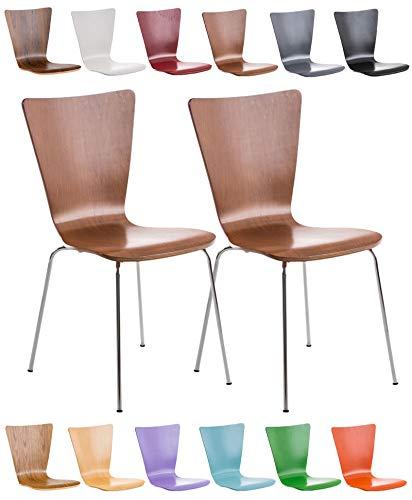 CLP 2X Stapelstuhl Aaron Mit Holzsitz Und Ergonomischer Sitzfläche I Konferenzstuhl Mit 45 cm Sitzhöhe, Farbe:braun