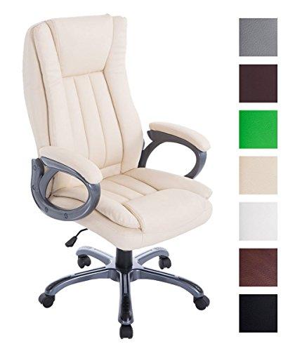 Bürostuhl XXL Bern Mit Kunstleder | Ergonomischer Bürosessel Mit Verstellbarer Sitzhöhe | Drehstuhl Mit Laufrollen, Farbe:Creme
