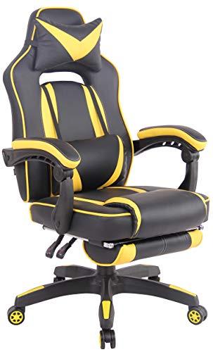CLP Bürostuhl Heat Mit Kunstlederbezug I Gamingstuhl mit Fußablage I Höhenverstellbar I Computerstuhl mit Armlehnen, Farbe:schwarz/gelb
