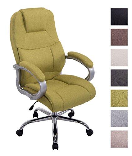 XL Bürostuhl Apoll Mit Stoffbezug I Höhenverstellbarer Gepolsterter Drehstuhl Mit Laufrollen I Schreibtischstuhl Mit 150 KG Belastbarkeit, Farbe:grün