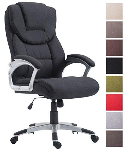 Bürostuhl XL Texas V2 I Chefsessel Mit Wippmechanismus I Gepolsterter Drehstuhl Mit Stoffbezug Und Armlehnen Belastbar Bis 180 KG, Farbe:schwarz