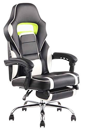 CLP Bürostuhl Fuel mit hochwertiger Polsterung und Kunstlederbezug I Höhenverstellbarer Gamingstuhl mit Metallgestell in Chromoptik, Farbe:schwarz/weiß