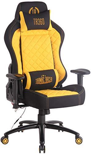 CLP Bürostuhl Rapid XM Mit Stoffbezug Und Massagefunktion I Schreibtischstuhl Mit Verstellbaren Armlehnen Und Beheizbarem Sitzbereich, Farbe:schwarz/gelb
