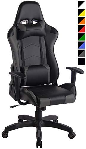 CLP Racing Bürostuhl Miracle Mit Kunstlederbezug   Höhenverstellbarer Gamingstuhl Mit Leichtlaufrollen Erhältlich, Farbe:schwarz/grau