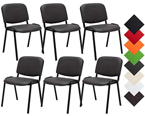 CLP 6er Set Besucherstuhl Ken Kunstleder I Stapelstuhl Mit Robustem Metallgestell I Polsterstuhl Mit Rückenlehne, Farbe:grau