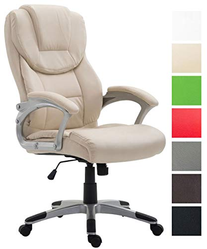 Bürostuhl XL Texas V2 Mit Kunstlederbezug I Drehstuhl Mit Armlehnen I Chefsessel Mit Wippmechanismus Belastbar Bis 180 KG, Farbe:Creme