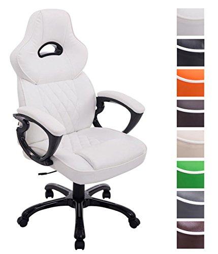 CLP XL Bürostuhl Big XXX mit Kunstlederbezug | Höhenverstellbarer Schreibtischstuhl mit gepolsterten Armlehnen | Drehstuhl mit Kunsstoffgestell, Farbe:weiß