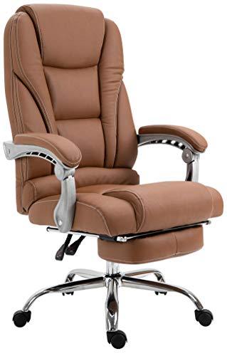 CLP Bürostuhl Pacific Mit Kunstlederbezug I Schreibtischstuhl Mit Laufrollen I Relaxsessel Mit Ausziehbarer Fußstütze, Farbe:Hellbraun