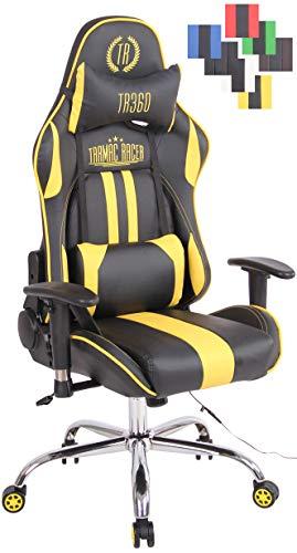 CLP Bürostuhl Limit XM Mit Kunstlederbezug I Gamingstuhl mit Fußablage I Höhenverstellbar I Computerstuhl Mit Massagefunktion, Farbe:schwarz/gelb