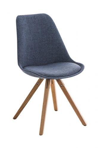 CLP Retrostuhl PEGLEG Square mit Stoffbezug I Gepolsterter Schalenstuhl mit Holzbeinen und Einer Sitzhöhe von: 46 cm, Farbe:blau, Gestell Farbe:Natura