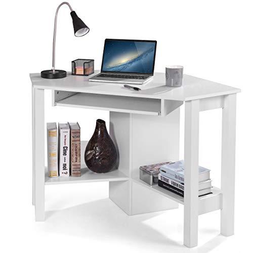 DREAMADE Eckschreibtisch Laptoptisch Holz, Schreibtisch mit 4 Ständer, Beistelltisch Computertisch für Zuhause, Farbewahl (Weiß)
