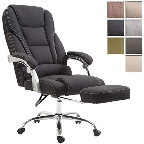 Bürostuhl Pacific mit Stoffbezug | Schreibtischstuhl mit Laufrollen | Relaxsessel mit ausziehbarer Fußstütze | Max. Belastbarkeit 150 kg, Farbe:schwarz