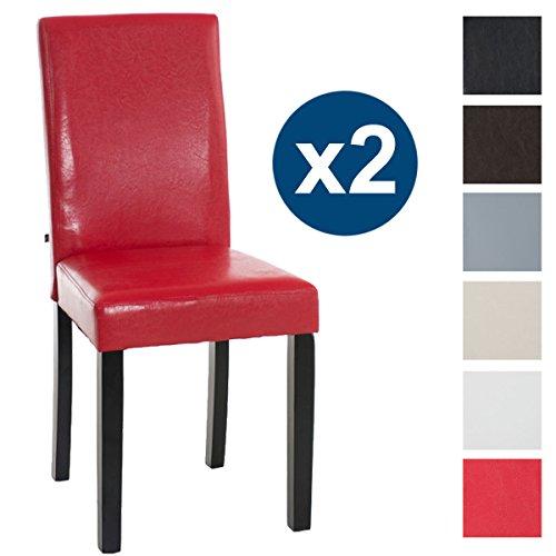CLP 2X Esszimmerstuhl INA mit schwarzem Holzgestell und Kunstlederbezug | Lehnstuhl mit Einer Sitzhöhe von 47 cm erhältlich Rot