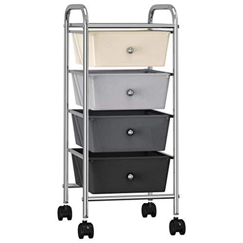 Tidyard Schubladenwagen Wagen Mit 4 Schubladen Ombre Kunststoff,Rollwagen Rollcontainer 32 x 36,5 x 76 cm Rollen mit 360-Grad-Drehung für einfache Mobilität