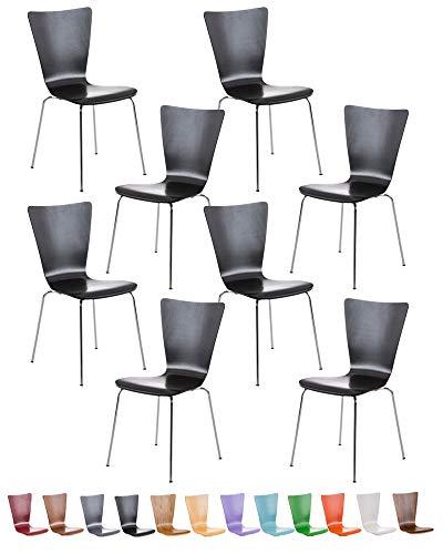 CLP 8X Stapelstuhl Aaron Mit Holzsitz Und Metallgestell I 8 x Stuhl Mit Pflegeleichter Sitzfläche I Set Mit 8 Stühlen, Farbe:schwarz