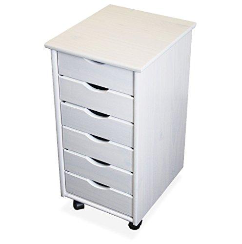 KMH®, Rollcontainer/Schubladencontainer mit 6 Schubladen aus massivem Pinienholz (Weiss) (#201125)