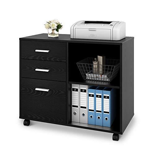 DEVAISE Mobiler Büro-Aktenschrank Büro-Rollcontainer Drucker Ständer Schrank mit 3 Schubladen und Regal für Schreibtisch,Holz,schwarz