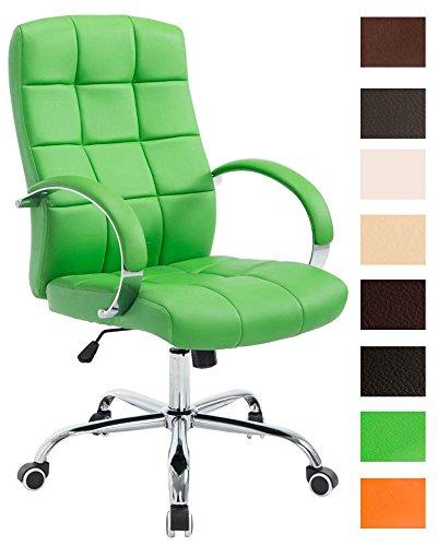 CLP Chefsessel Mikos Mit Polsterung Und Kunstlederbezug I Höhenverstellbarer Schreibtischstuhl Mit Laufrollen, Farbe:grün