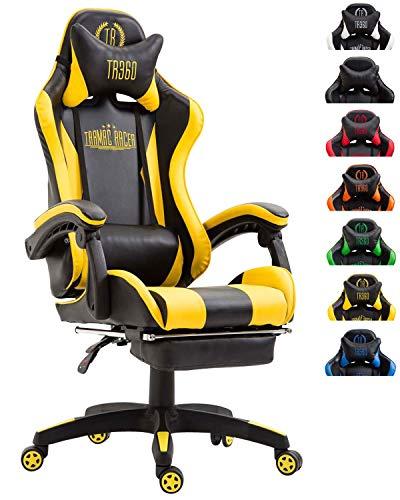 CLP Bürostuhl Ignite mit Kunstlederbezug I Schreibtischstuhl mit Armlehnen I Verstellbarer Drehstuhl im sportlichen Design, Farbe:schwarz/gelb