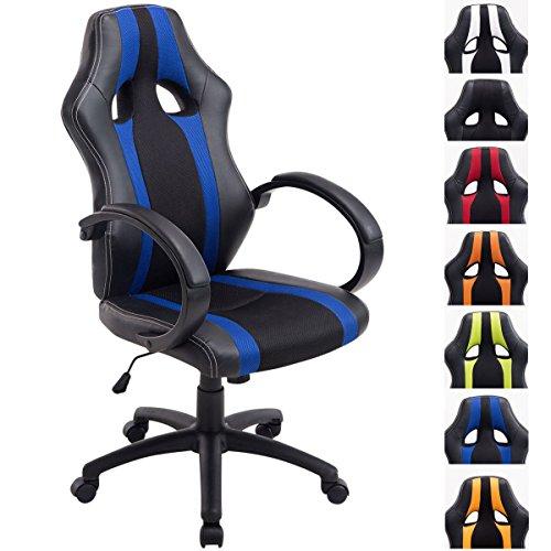 CLP Racing Bürostuhl Vettel mit Kunstleder-Netzbezug | Gamingsessel mit Sitzhöhenverstellung | Schreibtischstuhl mit Kopfstütze, Farbe:schwarz/blau