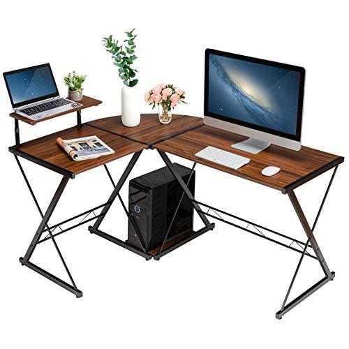 COSTWAY L-Form Computertisch Schreibtisch Computerschreibtisch Bürotisch Ecktisch Eckschreibtisch Winkelschreibtisch 147x112x79cm (Braun)