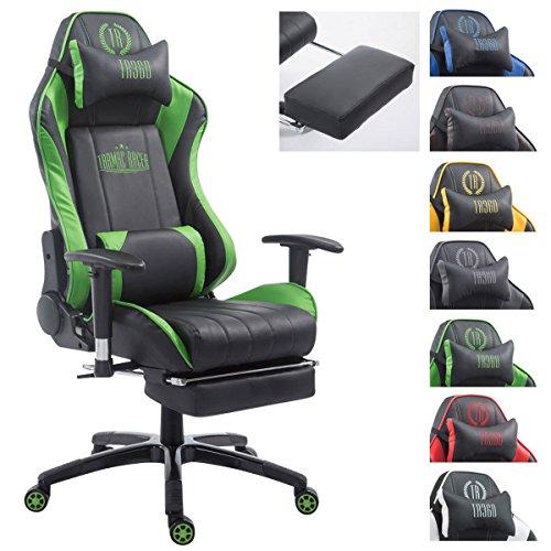 CLP Racing Bürostuhl Shift XL mit Kunstlederbezug l Gamingstuhl mit Leichtlaufrollen l Höhenverstellbarer Drehstuhl, Farbe:schwarz/grün, Fußablage:mit Fußablage